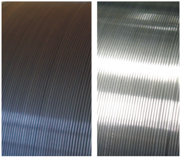 Appearance of wire before and after HELICORD process